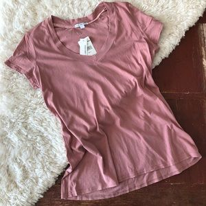 NWT | James Perse | Relaxed V-Neck Tee Rose Pink